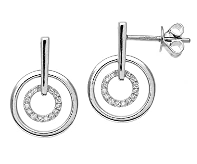 Naava 9 ct White Gold Diamond Circle Drop Earrings