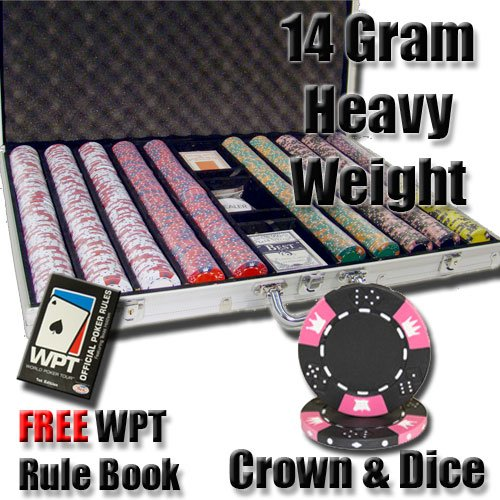 1,000 Ct Crown & Dice 14 Gram Clay Poker Chip Set w/ Aluminum Case & Free WPT Book1,000 Ct Crown & Dice 14 Gram Clay Poker Chip Set w/ Aluminum Case & Free WPT Book