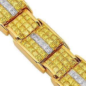 14K White Gold Mens Yellow Diamond Bracelet 32.50 Ctw