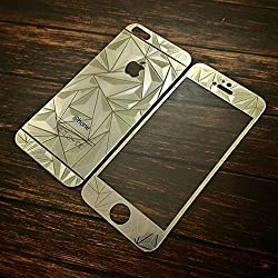 ShopAIS 3D Diamond Tempered Glass For Iphone 4/4s Gold - Front + Back Tempered Glass - We offer a Transperent Utra-Thin Back Cover worth Rs 199 Free with all orders