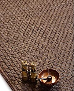 Cleo Real Leather Basket Woven Rug Chocolate Brown 5 X 8 '