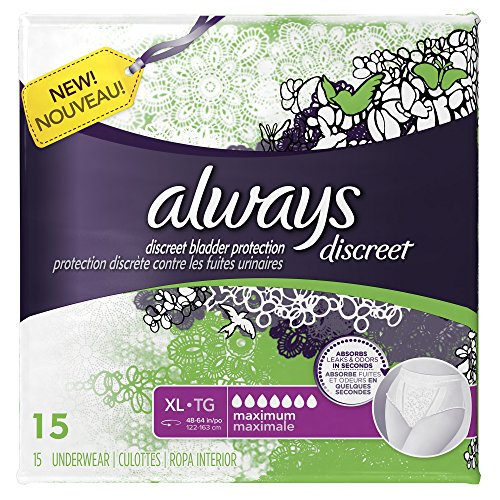 Always Discreet Incontinence Underwear, Maximum Absorbency, Extra-Large, 45 Count