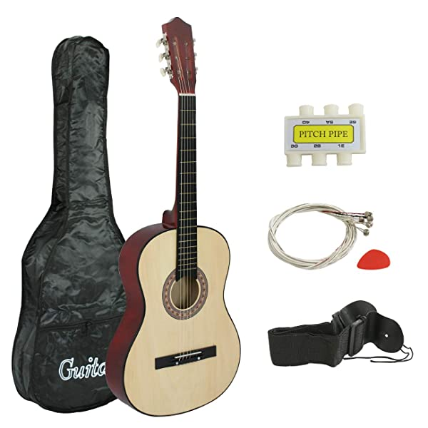 CASE STRAP PICK PITCH PI 38/'/' IN BEGINNER ACOUSTIC CUTAWAY GUITAR BUNDLE KIT W
