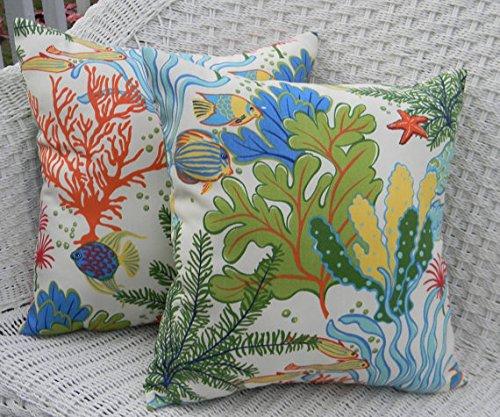 "Set of 2 - Indoor / Outdoor 20"" Square Decorative Throw / Toss Pillows - Splish Splash Tropical Fish / Coral Reef"