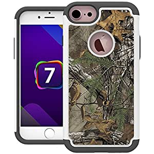 iPhone 7 Case, UrSpeedtekLive [Shock Absorption] Dual Layer Heavy Duty Protective Silicone Plastic Cover Case for iPhone 7 - Camo Tree