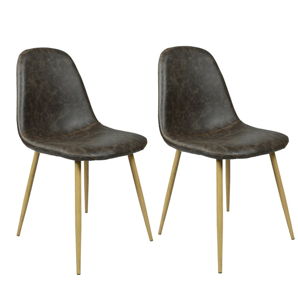 GreenForest Dining Side Chairs Washable Pu Cushion Seat Metal Legs for Dining Room Chairs Set of 2 ,Black(Buy 2 Chairs,Get 1 Free Chair) 0