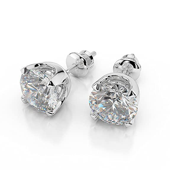 2/3 TCW Natural Real Round Diamond Stud Earrings H/SI1 (Clarity Enhanced) 14ct White Gold