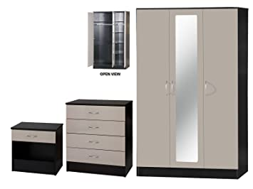 Alpha Luxe Stone Grey High Gloss and Black Mirrored Set, Wood, Multi-Colour, 3 Piece