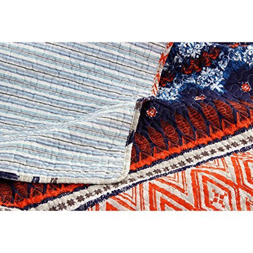 3-Piece-Modern-Reversible-Bohemian-Quilt-Set-in-Red-Navy-Orange-Brown-Blue-Stripes-and-Geometric-Patterns-Full-Queen-Size