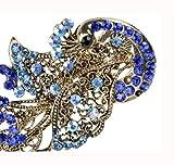 Ecloud Shop® flor de cristal hueco fuera rhinestone Grabado Peacock pernos de pelo de bronce