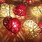 Red & White Heart Rattan LED Fairy Lights By Flowerglow