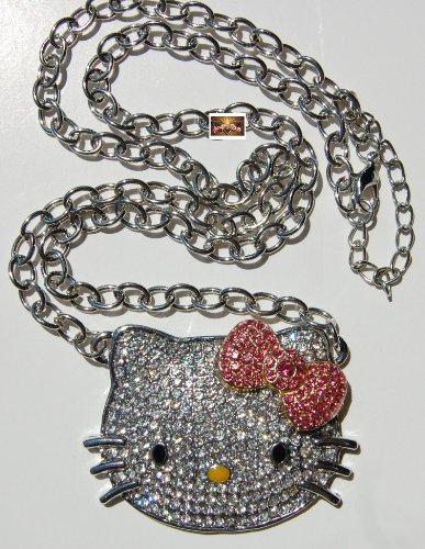 Large Rhinestone Crystal Hellokitty HK pendant Necklace