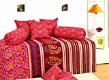 Salona Bichona 100% Cotton Vision Yellow Geometrical Diwan Set Set of 8.