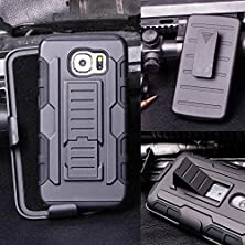 buy Customerfirst - Hard Shell Holster Combo Case For Samsung Galaxy S6 Edge Defender Advanced Armor Impact Hybrid Soft Silicone Cover Hard Snap On Plastic Case Kick Stand With Belt Clip Holster - (Future Armor Black)