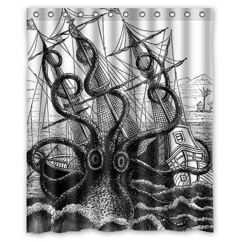 Kraken Attack 1815 Collosal Polypus Octopus Shower Curtain