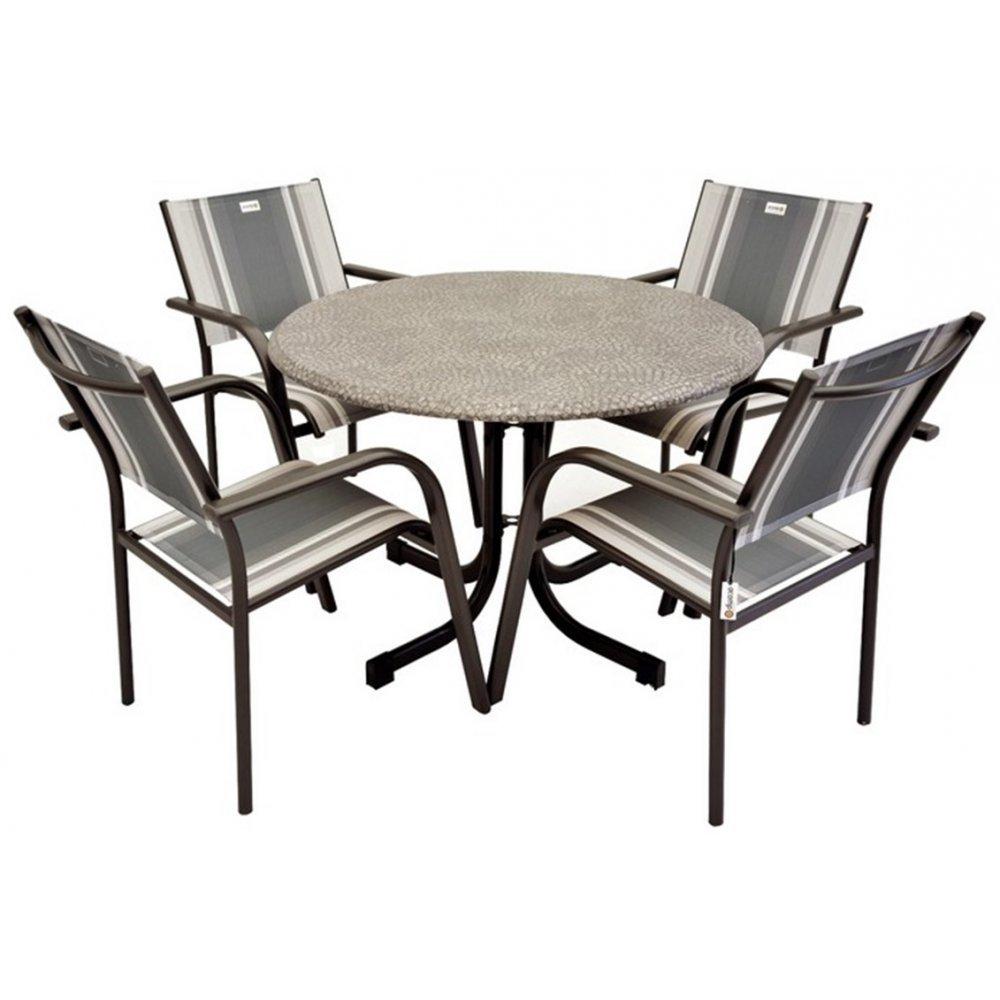JUSThome Albergo Gartenmöbel Sitzgruppe Gartengarnitur Set 4x Stuhl + Tisch in Metall-Optik Anthrazit Grau