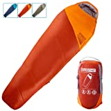 WINNER OUTFITTERS Mummy Sleeping Bag with Compression Sack, It's Portable and Lightweight for 3-4 Season Camping, Hiking, Traveling, Backpacking and Outdoor Activities (Color: Orange/Dark Sepia(35F), Tamaño: 32