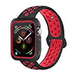 BRG Compatible with Apple Watch Band 38mm 42mm with Case, Shock-Proof Protective Case with Silicone Strap Replacement for iWatch Series 3,Series 2,Series 1 (Color: Black/Red, Tamaño: 42mm M/L)