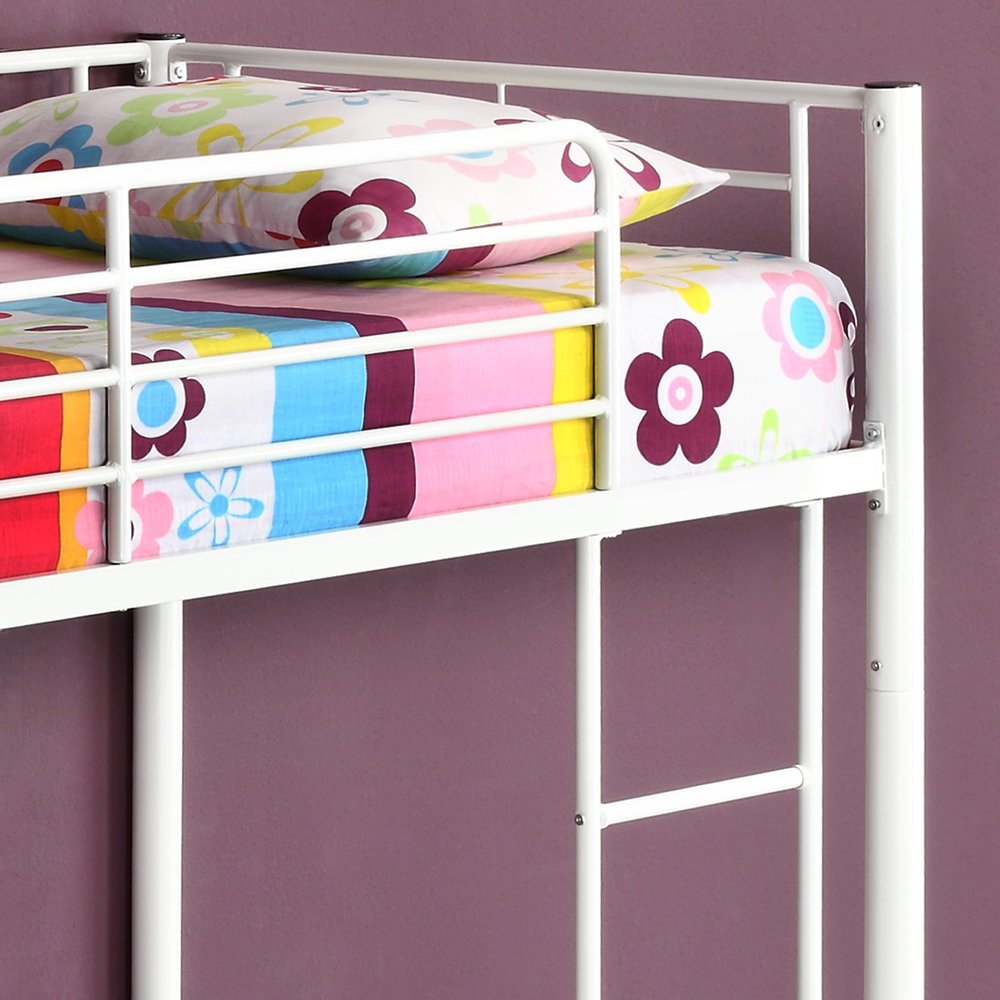 Walker Edison Twin-Over-Twin Metal Bunk Bed, White
