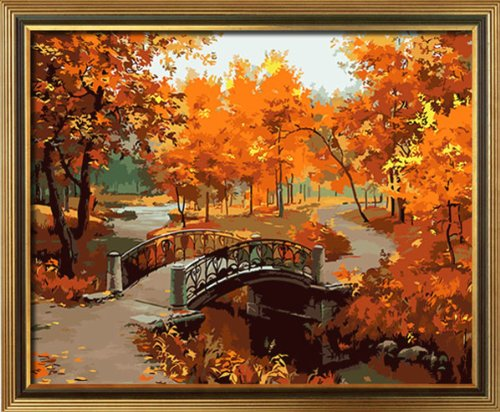 Diy oil painting, paint by number kit- Feeling Of Maple Leaf 16*20 inch.