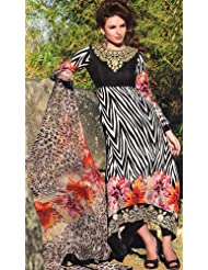 Exotic India Long Printed Salwar Kameez With Crewel Embroidered Flowers On Neck