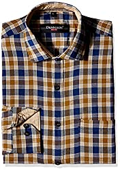 Dennison Men's Formal Shirt (SS-16-388_42_Brown)