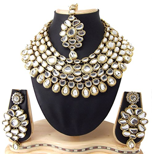 9blings Jodha style Clear white kundan cz gold plated bridal necklace earrings set for Women o276