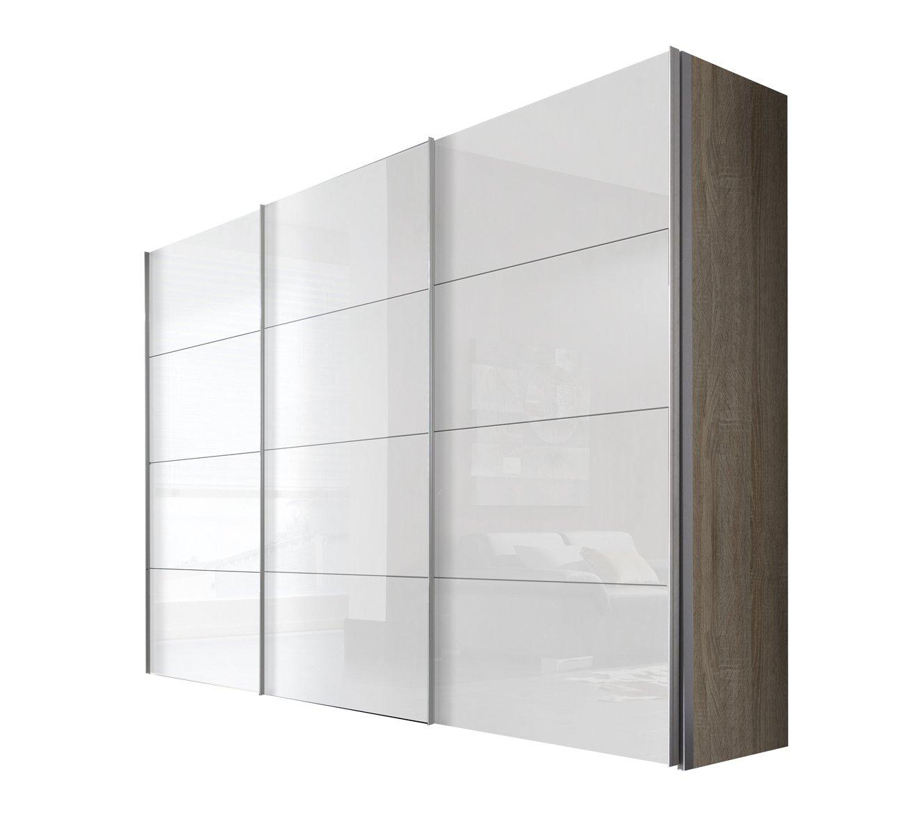 Solutions 49640-768 Schwebetürenschrank 3-türig, Korpus Sonoma-eiche, Front lack weiß, Griffleisten alufarben, 68 x 300 x 216 cm