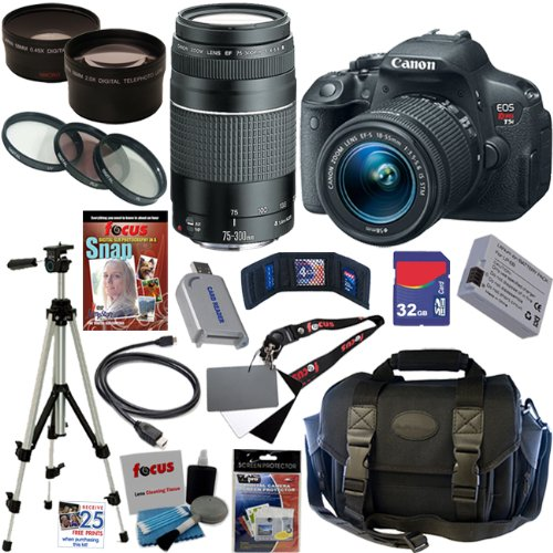 Canon Eos Rebel T5I 18.0 Mp Cmos Digital Camera With Ef-S 18-55Mm F/3.5-5.6 Is Stm Zoom Lens + Ef 75-300Mm F/4-5.6 Iii Telephoto Zoom Lens + Telephoto & Wide Angle Lenses + 12Pc Bundle 32Gb Deluxe Accessory Kit front-1048587