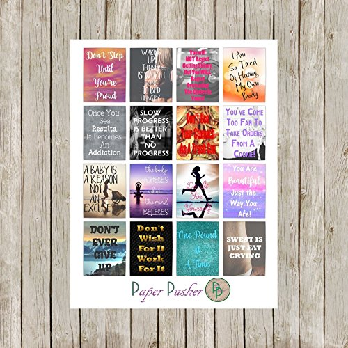 Fitness Workout Motivation Planner Stickers Made To Fit Most Planners, Happy Planner, Erin Condren Life Planner, Filofax, Kikki K, Color Crush, Project Life