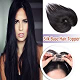 Elailite Silk Base Human Hair Toppers for Women Clip in Hair Top Hairpiece Natural Hair Toupee for Tinning Hair #1B Natural Black (Color: #1b Natural Black-6x9cm Base, Tamaño: 6 Inch)