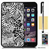 Oksobuy® Apple Iphone 6 plus case Iphone 6 plus (5.5 inch) case High Quality Fashion Luxury Designer Fashion Background Pattern Design Soft Silicone High Impact Case Cover Skin Protection for Apple Iphone 6 plus (5.5 inch) with Screen Protector and Stylus (Black White white Leopard)
