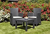 Allibert by Keter Rosario 2 Seat Balcony Outdoor Furniture Set - Graphite with Cream Cushions