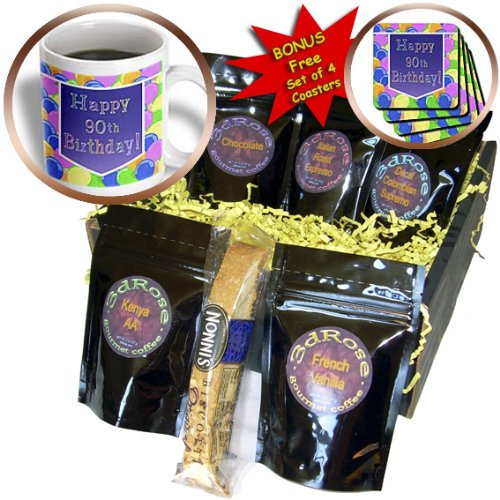 cgb_173072_1 Beverly Turner Birthday Design - Balloons with Purple Banner Happy 90th Birthday - Coffee Gift Baskets - Coffee Gift Basket