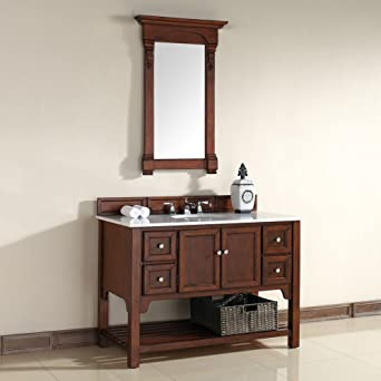 "James Martin Furniture 925-V48-WCH-GWH South Hampton Collection 48"" Single Vanity with Guangxi Marble Top, Antique Black/Satin Nickel Finish"