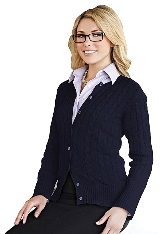 Tri-mountain Women 100% Cotton Long Sleeves Cable Sweater Cardigan DEEP NAVY