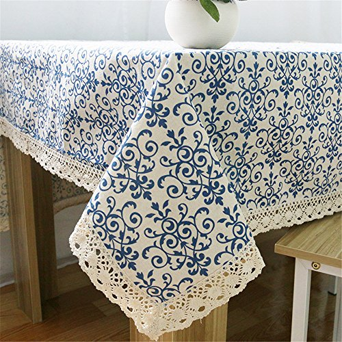 Superwinger Classic Linen Cotton Blue Flower Printed Tablecloth Dustproof Rectangular Table Cloth Wedding Party Hotel Table Cover,Assorted Size (Custom Table Cloths compare prices)