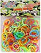 Kukubird 300 pcs DIY Mix Design Colourfull Neon, Glow In the Dark, Glitter & Dash Loom Rubber Band come with Colourful Hook and Clips - DASH LINE