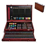 Selva 142 Pcs Fully Equipped Art Set - Artist Kit Pencils Pastels Watercolor Wood Case Cabinet | Non Toxic Colors Crayon Marker Paint and Pastel | Multi-Purpose Safe for Kids Adults Conform ASTM D4236 (Color: Brown, Tamaño: 14.8 x 3 x 9.5 inches)