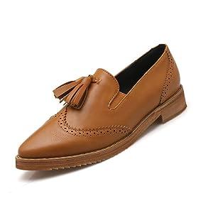 Summerwhisper Women's Retro Fringe Pointed Toe Oxford Flats Shoes Brown 7 B(M) US