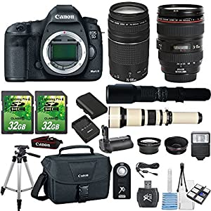 Canon EOS 5D Mark III 22.3MP DSLR Camera+ Canon 24-105mm L lens + Canon 75-300mm Lens III+ 500mm Preset Lens+ 650-1300mm Telephoto lens+ 2pc 32GB SD Cards+Flash+Canon Case+Telephoto and Macro Aux Lens