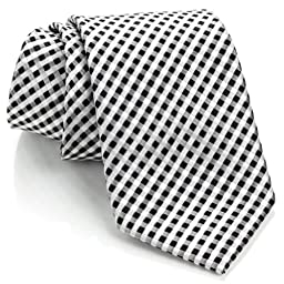 Neckties By Scott Allan - Black and White Men\'s Checkered Tie