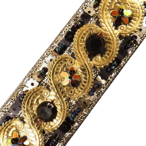Black Artificial Leather Trim Sequin Beaded Decorative Lace Sewing Craft India 3 Yd
