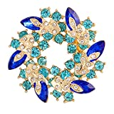 Valdler Fashion Jewelry Fancy Vintage Rhinestone Bling Crystal Bauhinia Flower Brooch Pin