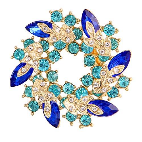 Valdler Women 's Brooch Pin With Fashion Jewelry Fancy Vintage Rhinestone Bling Crystal Bauhinia Flower 0