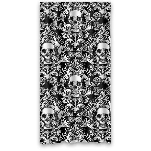 "Atnee Creative Skull Damasks Design Shower Curtain Standard Inch Size 36""(W) X 72""(H)"