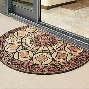 Ustide Vintage Style Half Round Rug Indoor Doormat Waterproof Floor Mat Non Slip