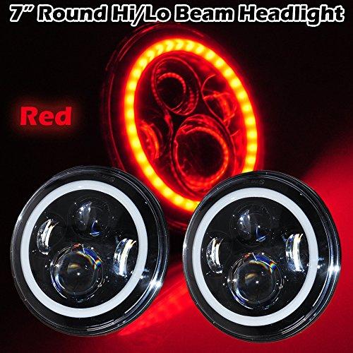 Omotor Pair 40W 7 Inch Round OSRAM Led Headlight Bulb Red Halo Angle Eyes High/Low Beam Jeep 97-15 Wrangler JK LJ TJ (7 Inch Round Halo Black Housing) Motorcycles Headlight
