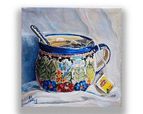 Tea Cup Still Life Art Print Giclee, Polish Pottery Mug, Kitchen Wall Decor, size/mat option