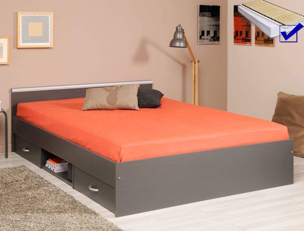 Jugendbett Leader 7.1 grau 140×200 2x Bettkasten Lattenrost Matratze Singlebett Gästebett Jugendzimmer günstig